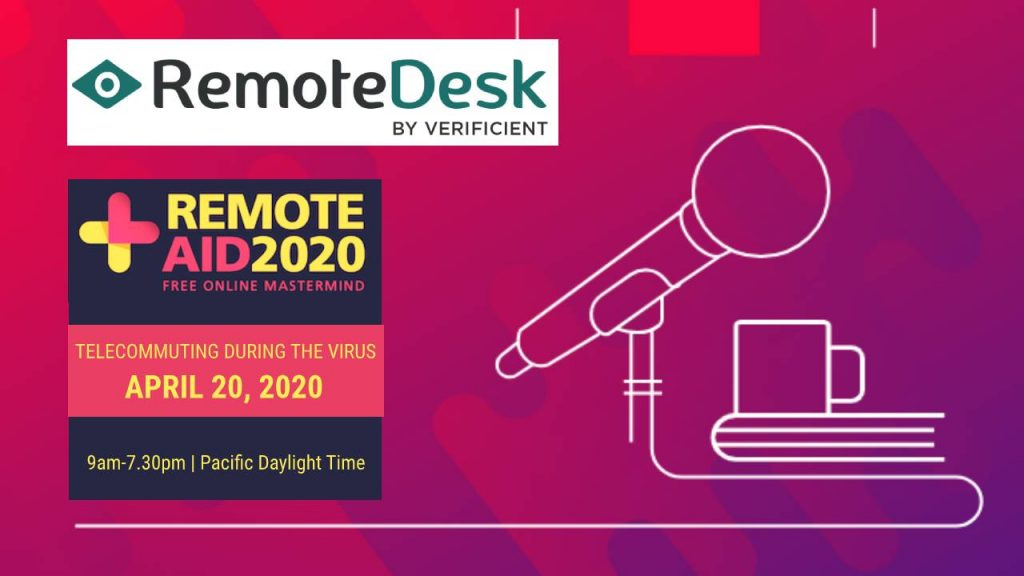 RemoteDesk showcasing at the Remote Aid 2020 Conference, is a free charity event for companies and remote employees, who are struggling with emergency work from home practices